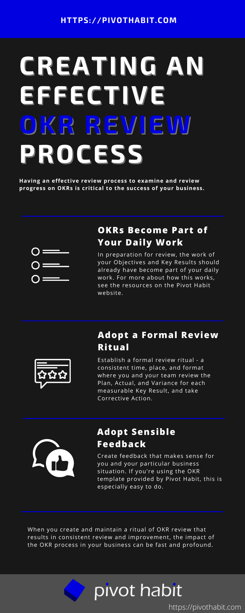 Four tips for how to create an effective OKR review process.